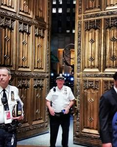 The doors of St. Patrick's Cathedral right after the Pope's departure. [Photo credit: Fr. Jason Smith, LC]