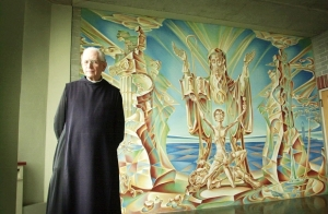 Fr. Dunstan Massey, O.S.B. with his fresco.