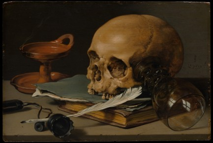Still Life with a Skull and a Writing Quill, Pieter Claesz, 1628