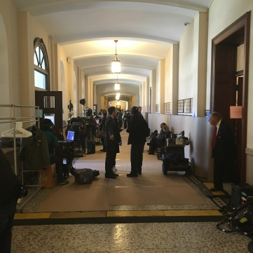 The main hall taken over by film crew members and equipment. (Photo credit: Anthony Marcella.)