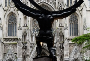 Statue of Atlas before Saint Patrick's Cathedral. New York City, New York, USA.